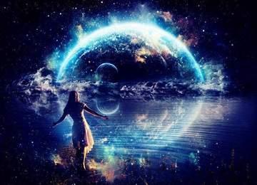 Bir İnsan ve evren.