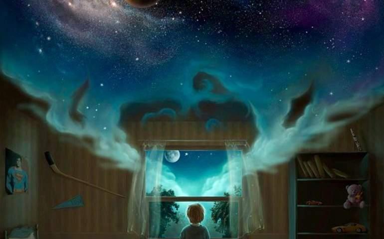 Kocaman hayallerinin büyüklüğünü gösteren çocuğun resmi
